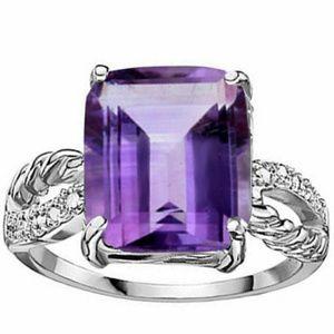 Genuine Amethyst and Diamond 925 Silver Ring